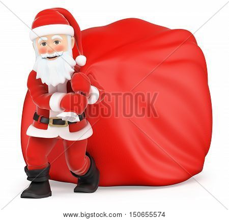 3d christmas people illustration. Santa Claus with huge sack of gifts. Isolated white background.