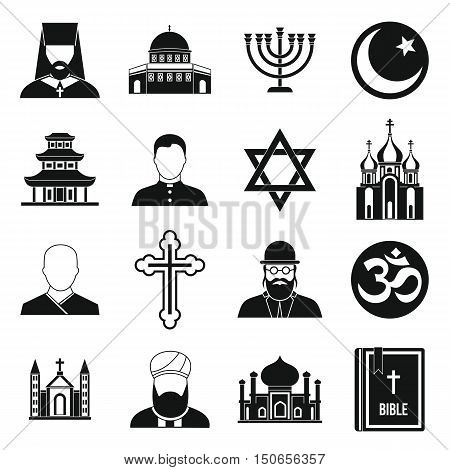 Religious symbol icons set in simple style. World religions and badges set collection vector illustration