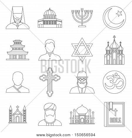 Religious symbol icons set in outline style. World religions and badges set collection vector illustration