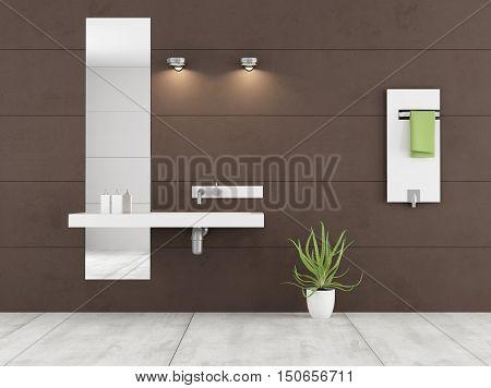 Minimalist Brown Bathroom