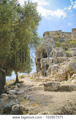 In the picture the ancient ruins of the city. The photo was taken in Turkey.