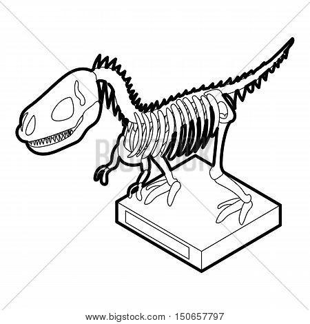 Dinosaur skeleton icon in outline style on a white background vector illustration
