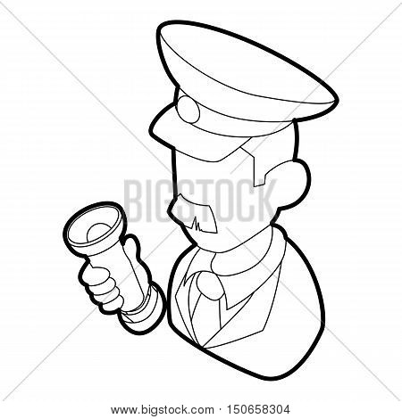 Museum security guard icon in outline style on a white background vector illustration
