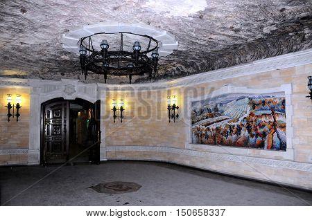 CRICOVA MOLDOVA - October 02: Wall painting in underground famous Cricova wine cellars on October 02 2016 in Cricova Moldova. The wine cellars of Cricova is second largest wine cellar in Moldova.