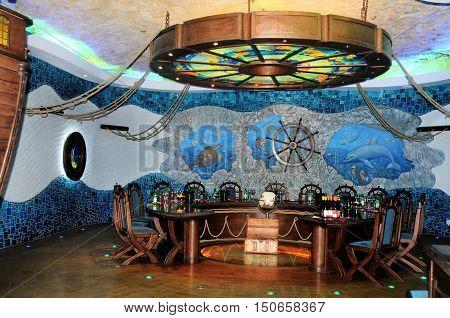 CRICOVA MOLDOVA October 02 2016 -Wine sampling hall in underground wine cellars
