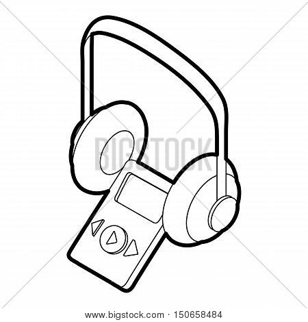Audio guide icon in outline style on a white background vector illustration