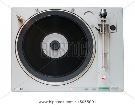 Vintage Vinyl player isolated on white background with clipping path