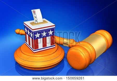 Voting Election Ballot Box Legal Gavel Concept 3D Illustration