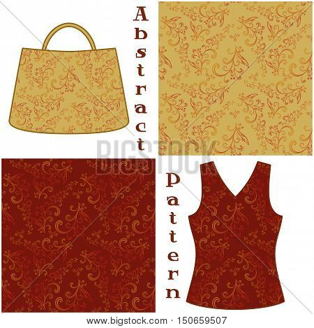Set Seamless Floral Patterns, Symbolical Plants Contours, Elements for Your Design, Prints and Banners, For the Example Presented in a Female Top and a Bag. Vector