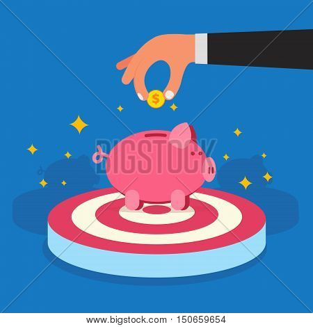 Businessman hand saving golden money coins in piggy bank on target. Successful donation or investment concept. Lucky time deposit or transaction account image. Flat style vector illustration.