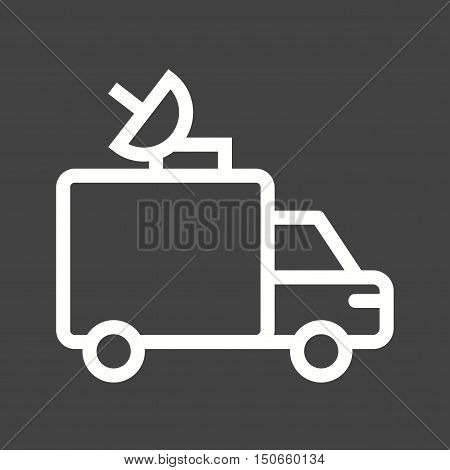 Van, news, television icon vector image. Can also be used for vehicles. Suitable for use on web apps, mobile apps and print media.
