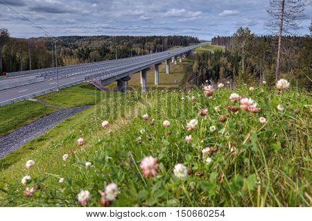 Steel girder bridge on the road that crosses Russian forest.