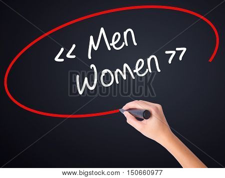 Woman Hand Writing Men - Women With A Marker Over Transparent Board