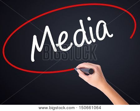 Woman Hand Writing Media With A Marker Over Transparent Board
