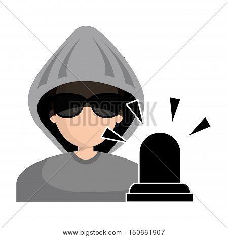 avatar man hacker and alert siren icon. vector illustration