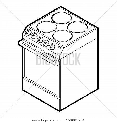 Modern electric cooker icon in outline style on a white background vector illustration