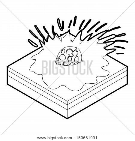 Meteor falling icon in outline style on a white background vector illustration
