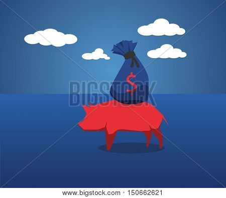 Concepts Ideas Piggy Bank Wealth Carriage. Business concepts
