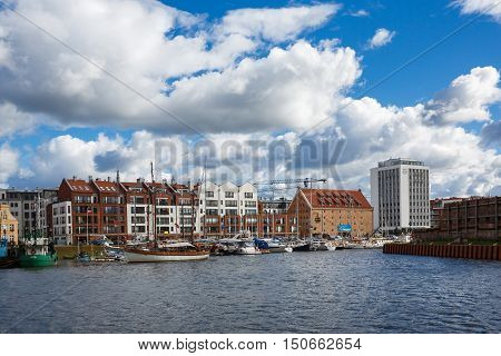 Gdansk Poland - October 04 2016: Yachts in the bay in old town of Gdansk in autumn