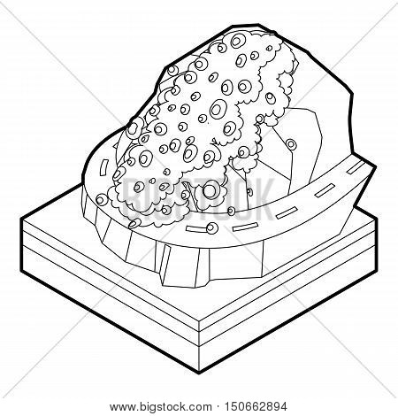 Rockfall icon in outline style on a white background vector illustration