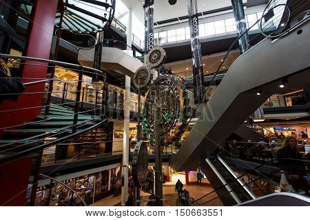 Gdansk Poland - October 04 2016: Gear fountain inside the Madison Gallery Shopping Center