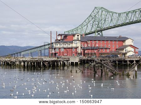 The wooden house standing next to the long bridge over Columbia River (Astoria Oregon).