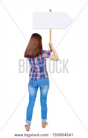 Back view woman showing sign board. man holds information plate. Rear view people collection. backside view of person. Isolated over white background. Girl in plaid shirt holding a poster with two