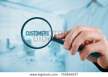 Customers oriented marketing concept. Market segmentation concept. Successful company is focused on customers.