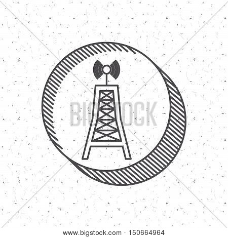 News antenna icon. News media communication broadcasting theme. Texture background. Vector illustration