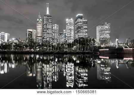 Melbourne, Australia - April 24, 2015: Skyline view over the Yarra River in black and white