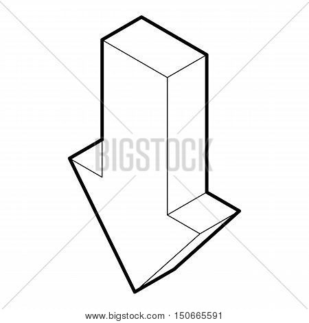 Down arrow icon in outline style on a white background vector illustration