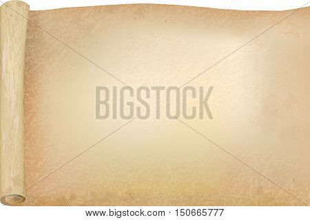 Vellum Or Papyrus Opened Scroll, Vector Background, Mockup Template For Retro Fashion Design