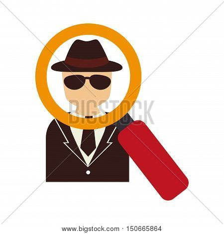 security detective man and magnifying glass icon. vector illustration
