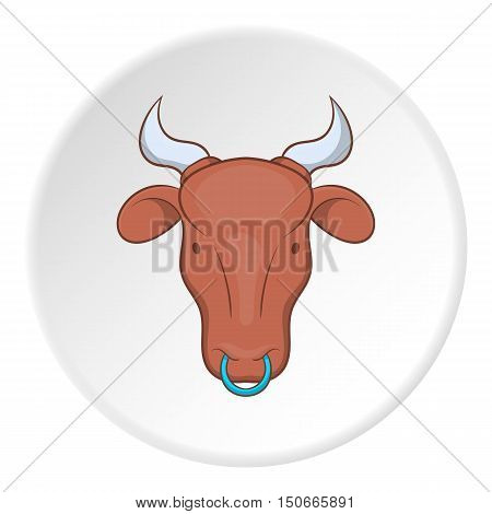 Cow icon in cartoon style isolated on white circle background. Animals symbol vector illustration