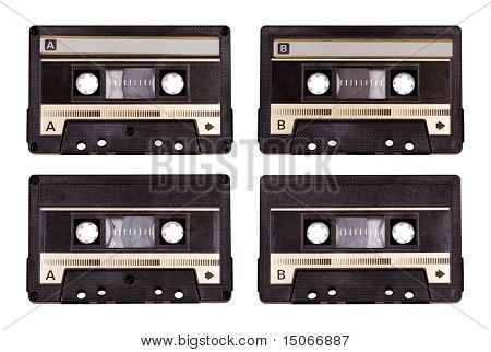 audio cassette isolated on white background with clipping path