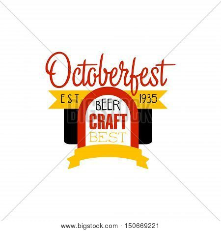 Oktoberfest Logo Design Template. Black And Yellow Vector Label With Text And Establishment Date For Brewery Promotion.