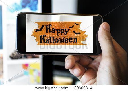 Halloween Bat Pumpkin Lantern Scary Graphic Concept