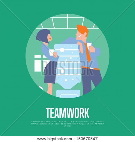 Business colleagues speaking near water cooler in office. Teamwork banner, vector illustration. Coworkers talking. Business people. Office life. Corporate culture. Work relationships concept