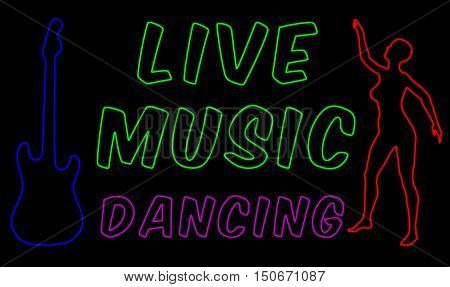 Live music and dancing neon style sign 3D illustration with dancing female and a guitar against a black background