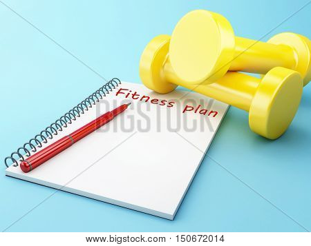 3D Illustration. Dumbbells with a notepad. Healthy lifestyle concept.