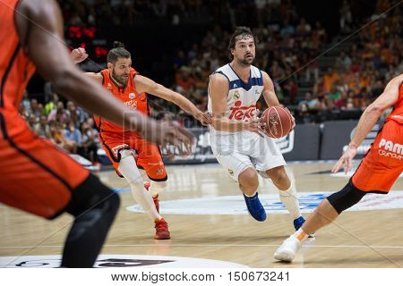 VALENCIA, SPAIN - OCTOBER 6th: Llull with ball during spanish league match between Valencia Basket and Real Madrid at Fonteta Stadium on October 6, 2016 in Valencia, Spain