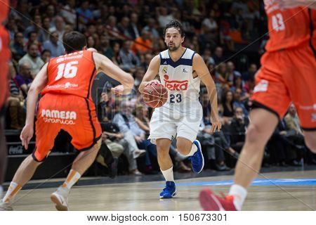 VALENCIA, SPAIN - OCTOBER 6th: 23 Llull during spanish league match between Valencia Basket and Real Madrid at Fonteta Stadium on October 6, 2016 in Valencia, Spain
