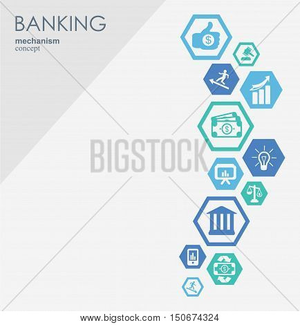 Banking network. Hexagon abstract background with lines, polygons, and integrate flat icons. Connected symbols for money, card, strategy, bank, business and finance concepts. Vector interactive.
