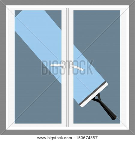 vector cartoon squeegee, scraper, wiper. for cleaning windows, floor, bathroom. flat icon template circle isolated