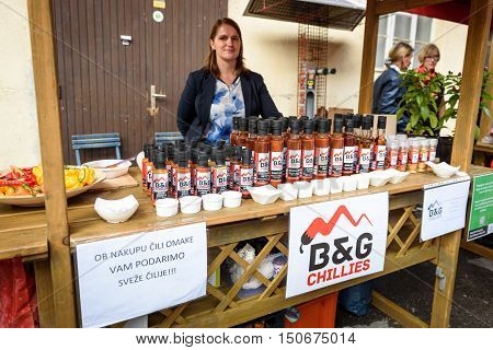 Ljubljana Slovenia - September 17 2016: 2nd Chili - Hot Pepper Festival Fair in Lepa Zoga. Different Hot Sauce makers present their products to the public. B&G Chillies hot sauce.
