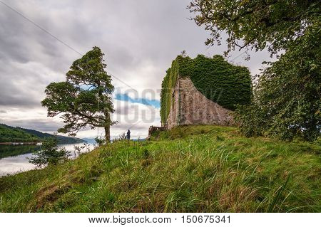 Remains of Castle Lachlan, located on the eastern shore of Loch Fyne, originally built in the thirteenth century, now a ruin