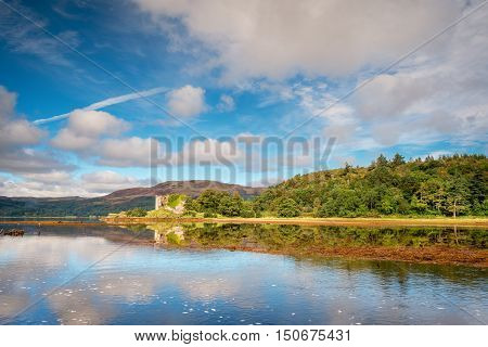 Castle Lachlan on Loch Fyne, located on the eastern shore,  is the remains of Castle Lachlan originally built in the thirteenth century now a ruin