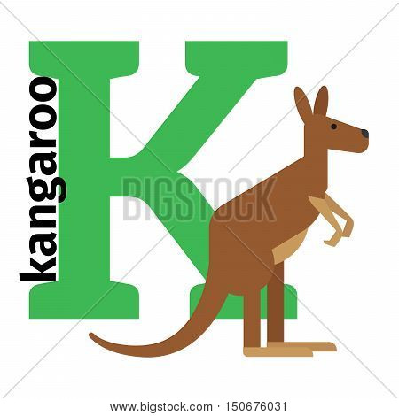 English animals zoo alphabet with letter K. Kangaro vector illustration