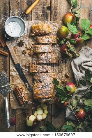 Apple strudel cake with cinnamon and sugar powder cut in slices served with star anise, nuts and fresh apples on rustic wooden background, top view, vertical composition
