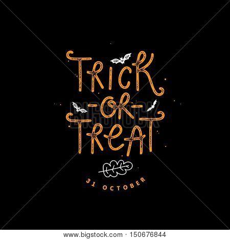 Trick or treat lettering illustration